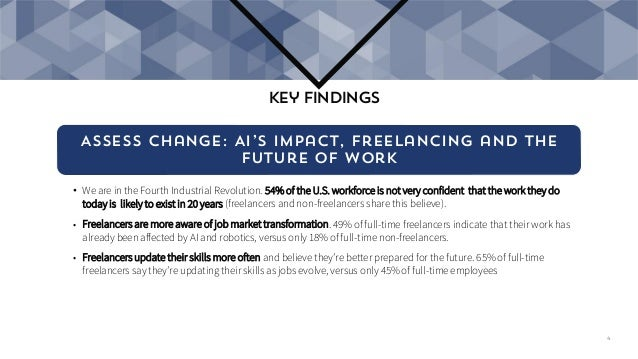 Assess change: AI's impact, freelancing and the future of work • We are in the Fourth Industrial Revolution. 54% of the U....