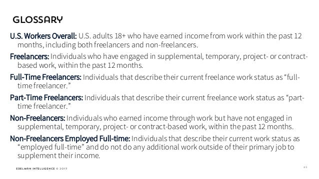 Edelman Intelligence © 2017 U.S. Workers Overall: U.S. adults 18+ who have earned income from work within the past 12 mont...