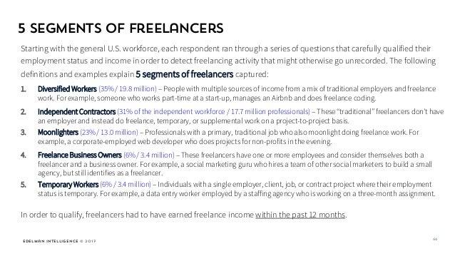 Edelman Intelligence © 2017 5 Segments of Freelancers Starting with the general U.S. workforce, each respondent ran throug...