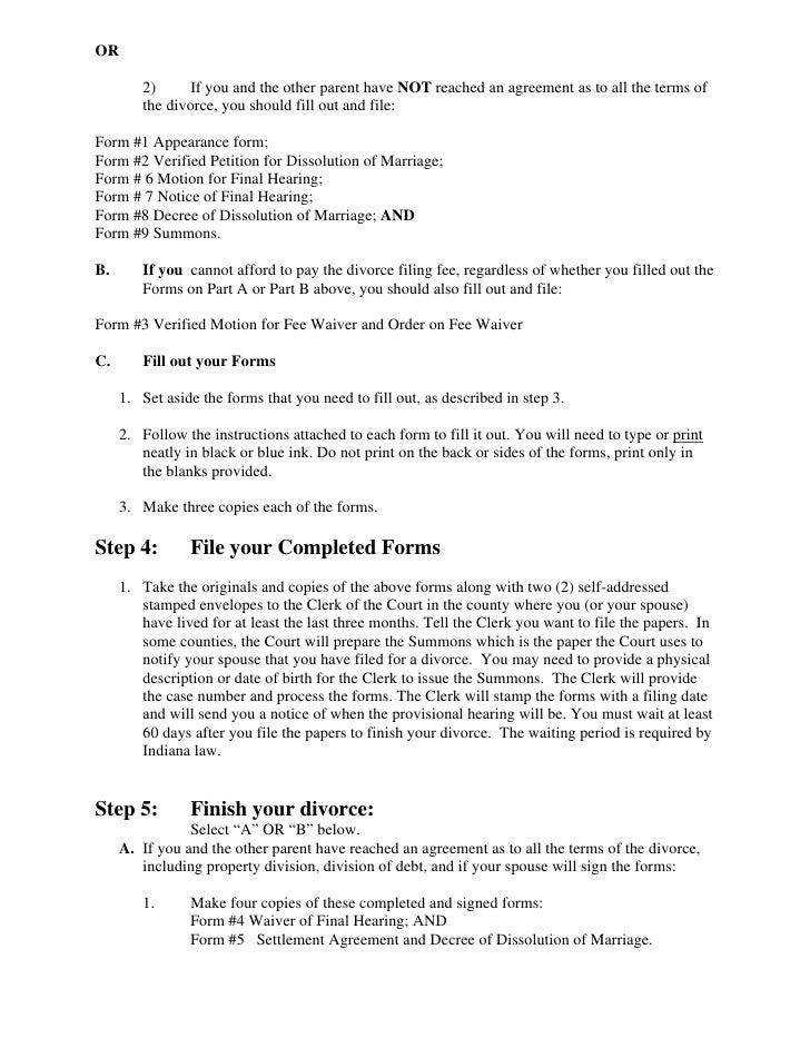 Free Legal Divorce Forms