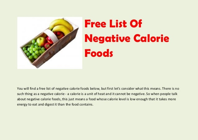 Complete List Of Negative Calorie Foods Free