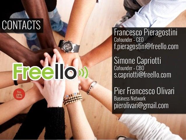 CONTACTS Francesco Pieragostini Cofounder – CEO f.pieragostini@freello.com Simone Capriotti Cofounder – CBO s.capriotti@fr...