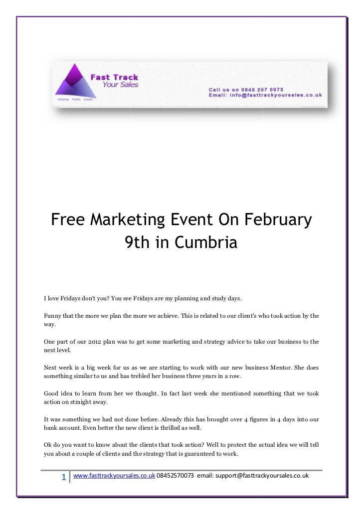 Free Marketing Event On February           9th in CumbriaI love Fridays dont you? You see Fridays are my planning and stud...