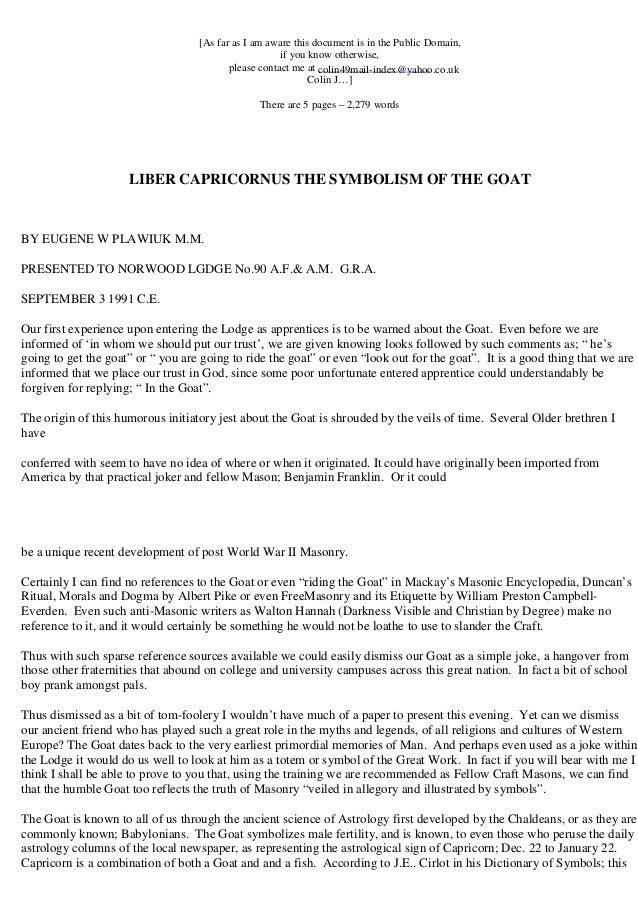 Freemasonry 032 Liber Capricornus The Symbolism Of The Goat