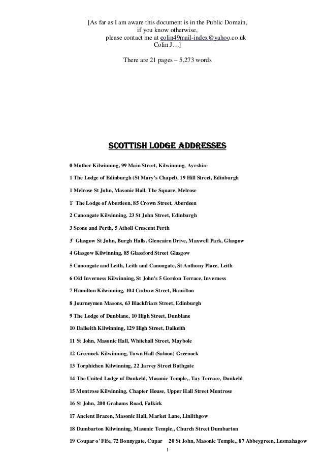 Freemasonry 045 scottish lodge addresses