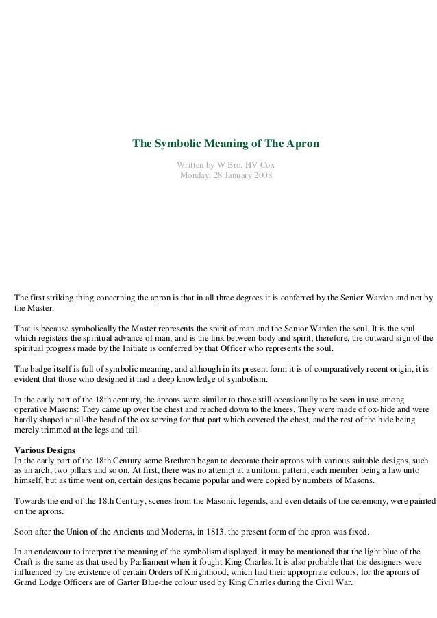 Freemasonry 106 The Symbolic Meaning Of The Apron