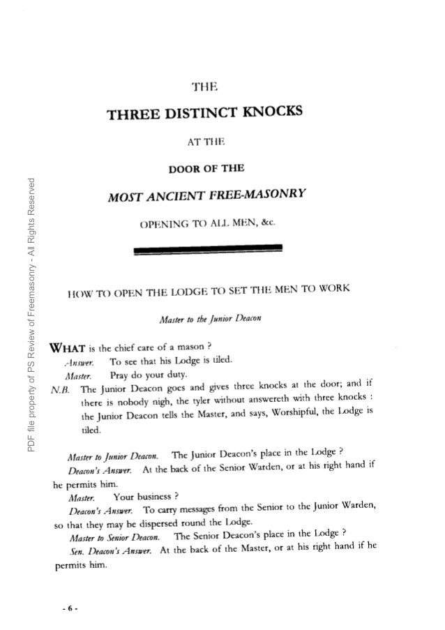 Freemasonry 155 Three Distinct Knocks 1760