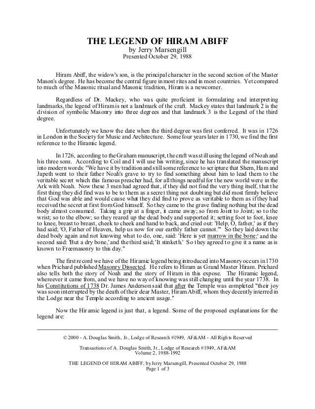 Freemasonry 165 the legend of hiram abiff the legend of hiram abiff by jerry marsengill presented october 29 1988 hiram abiff thecheapjerseys Gallery