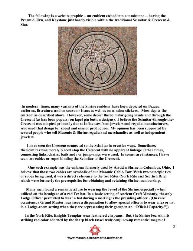 Freemasonry 256 the mystic symbolism of the shriners emblems