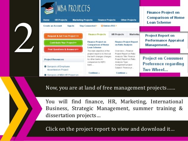 Download HR Marketing Finance Free MBA Projects