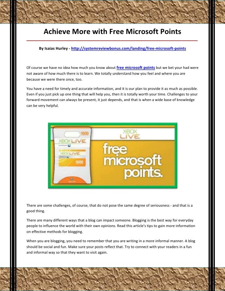 Achieve More with Free Microsoft Points___________________________________________________________________________________...