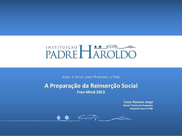 Amar e Servir para Promover a VidaA Preparação da Reinserção Social              Free Mind 2013                           ...