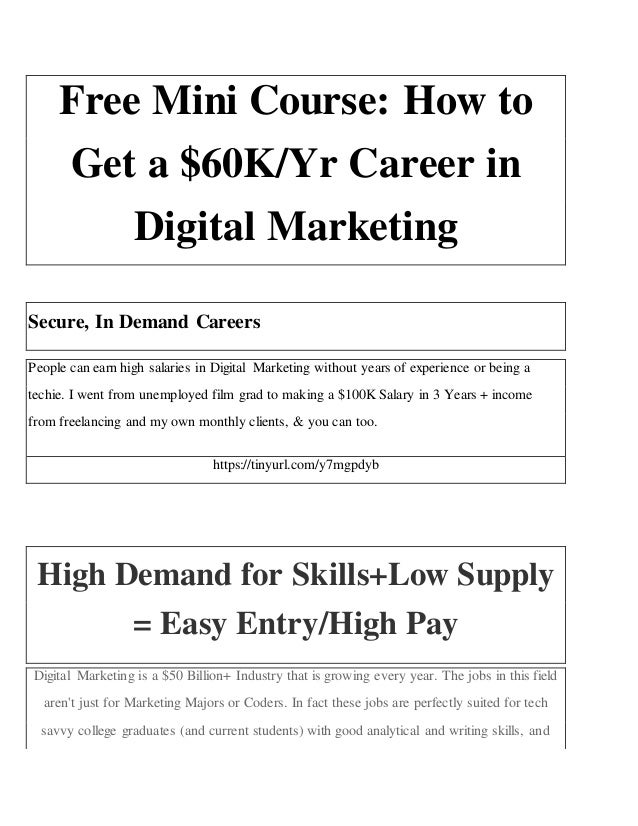 Free Mini Course How To Get A K Yr Career In Digital Marketing Creativity