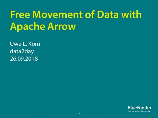 Free Movement of Data with Apache Arrow Uwe L. Korn data2day 26.09.2018 1