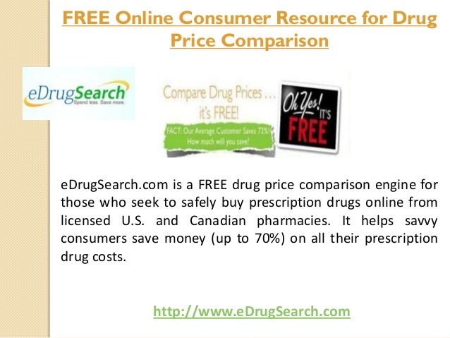 eDrugSearch.com is a FREE drug price comparison engine for those who seek to safely buy prescription drugs online from lic...