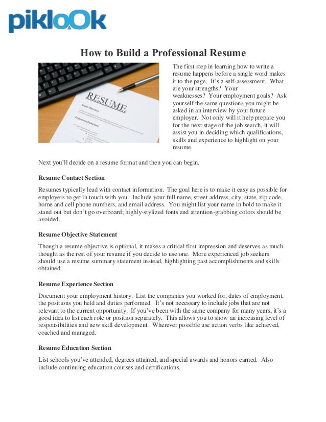 Free Online Resume Builder. How To Build A Professional Resume The First  Step In Learning How To Write A Resume ...