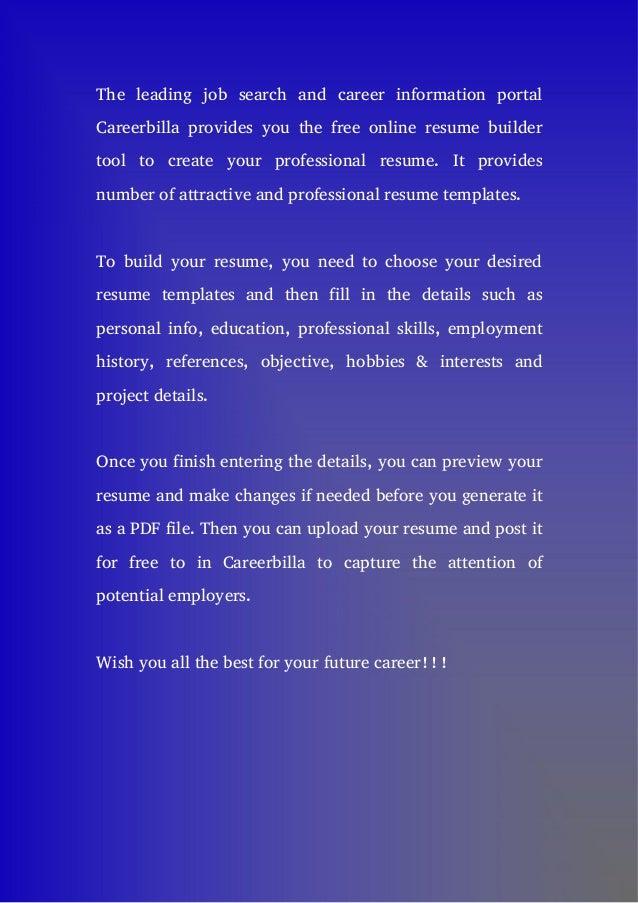 free online resume builder tool - Online Professional Resume Builder