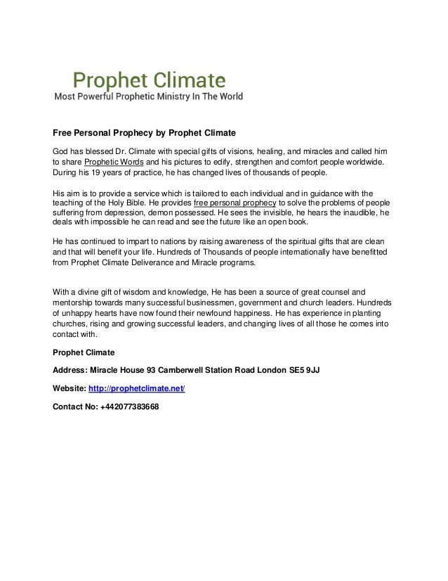 free personal prophecy by prophet climate
