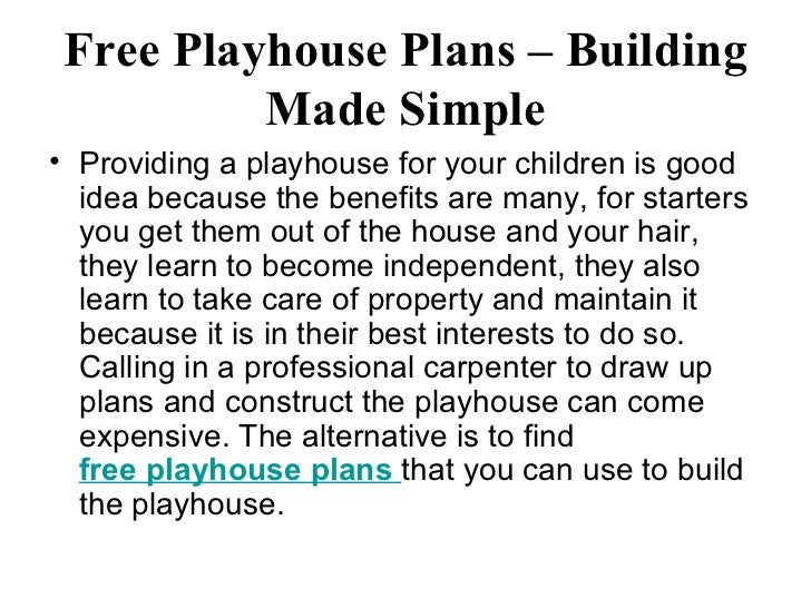 Free playhouse plans building made simple for Free playhouse plans with slide