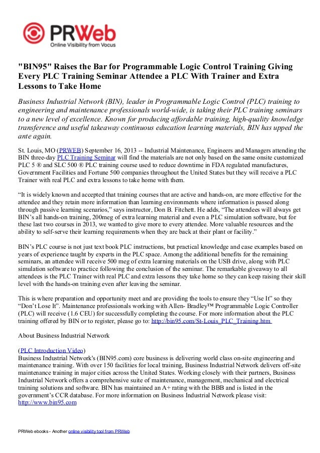 """PRWeb ebooks - Another online visibility tool from PRWeb """"BIN95"""" Raises the Bar for Programmable Logic Control Training Gi..."""