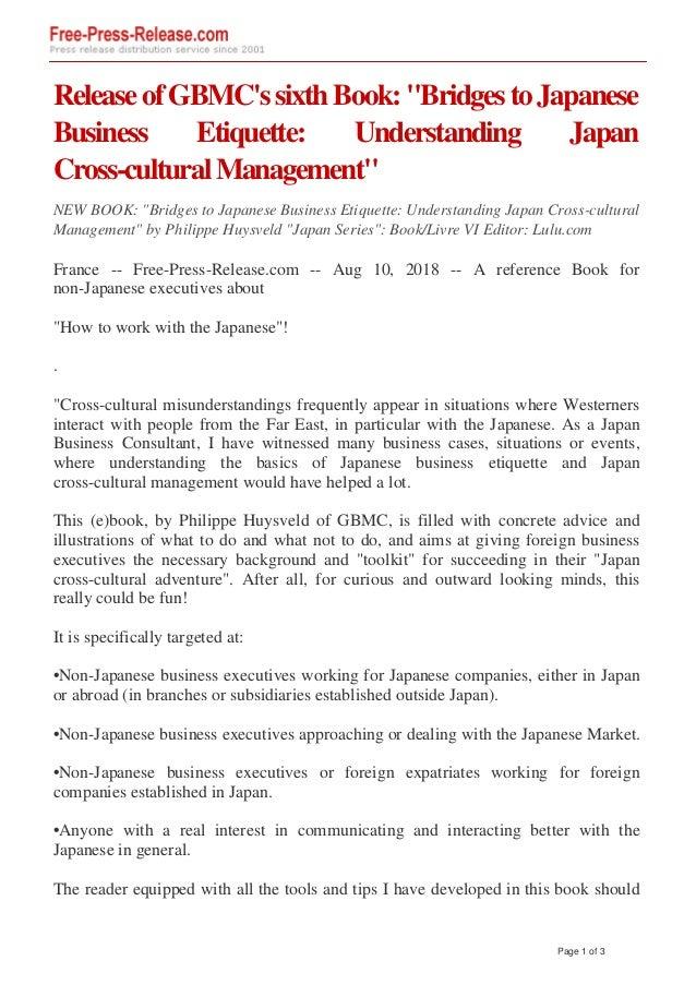 """ReleaseofGBMC'ssixthBook:""""BridgestoJapanese Business Etiquette: Understanding Japan Cross-culturalManagement"""" NEW BOOK: """"B..."""