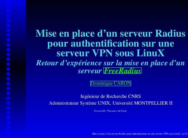 Mise en place d'un serveur Radius  pour authentification sur une    serveur VPN sous LinuXRetour d'expérience sur la mise e...