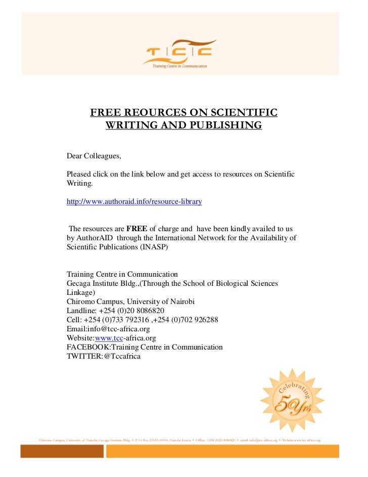 FREE REOURCES ON SCIENTIFIC         WRITING AND PUBLISHINGDear Colleagues,Pleased click on the link below and get access t...