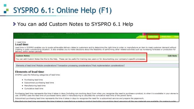 syspro 6.1 user manual