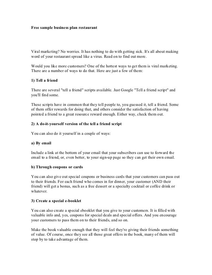 Free sample of business plan for restaurant 10 sample restaurant business plan templates to count on accmission Images
