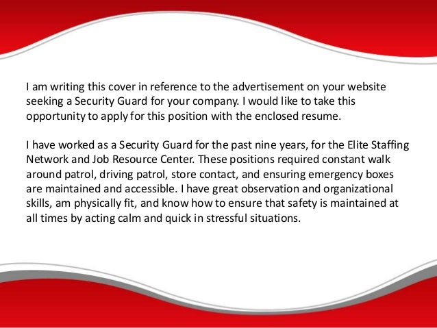 SlideShare  Cover Letter For Security Guard