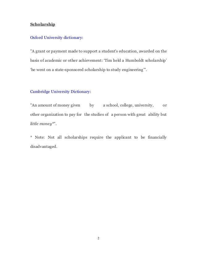 Scholarship Vocabulary  Glossary
