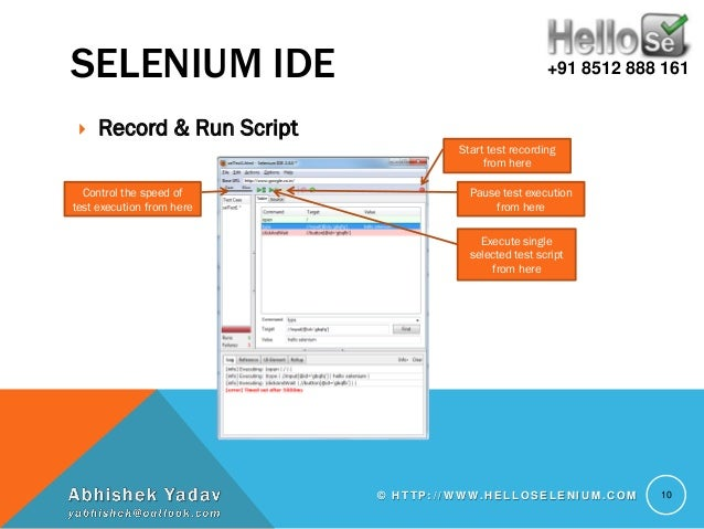 Write automated test scripts selenium side