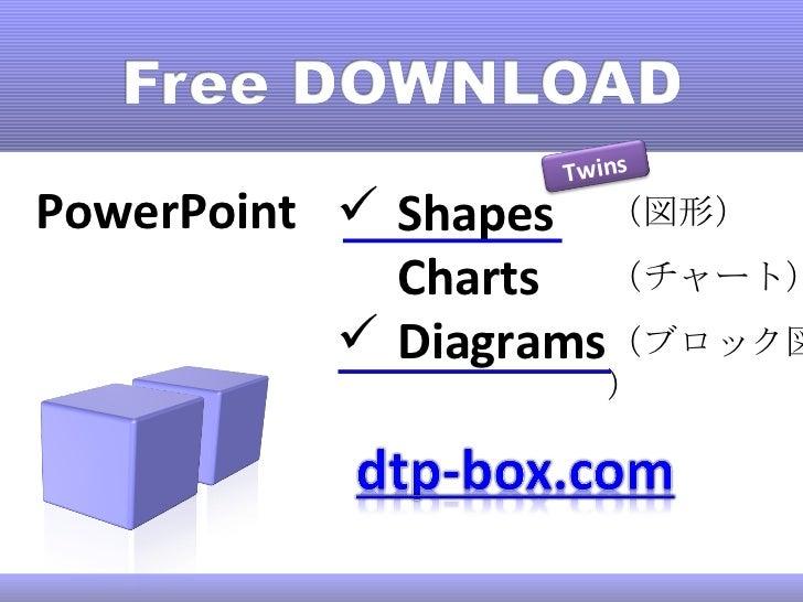 PowerPoint <ul><li>Shapes </li></ul><ul><li>Charts </li></ul><ul><li>Diagrams </li></ul>(図形) (チャート) (ブロック図) Twins