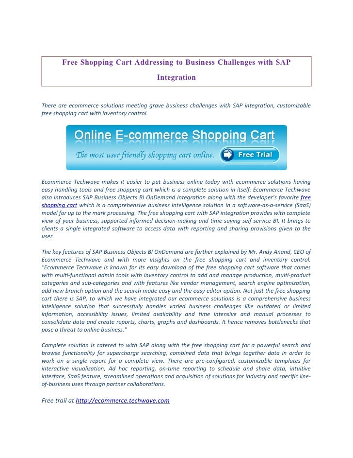 Free Shopping Cart Addressing to Business Challenges with SAP                                               Integration   ...