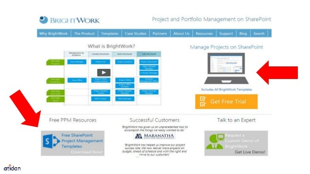 free project management template for sharepoint from brightwork and a
