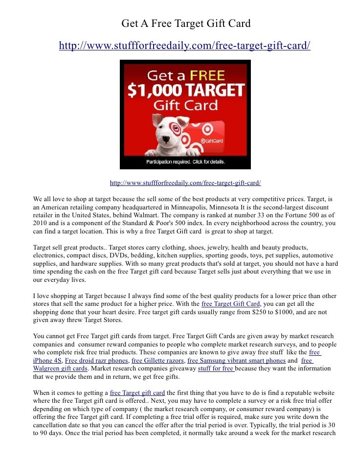 Get A Free Target Gift Card         http://www.stuffforfreedaily.com/free-target-gift-card/                             ht...