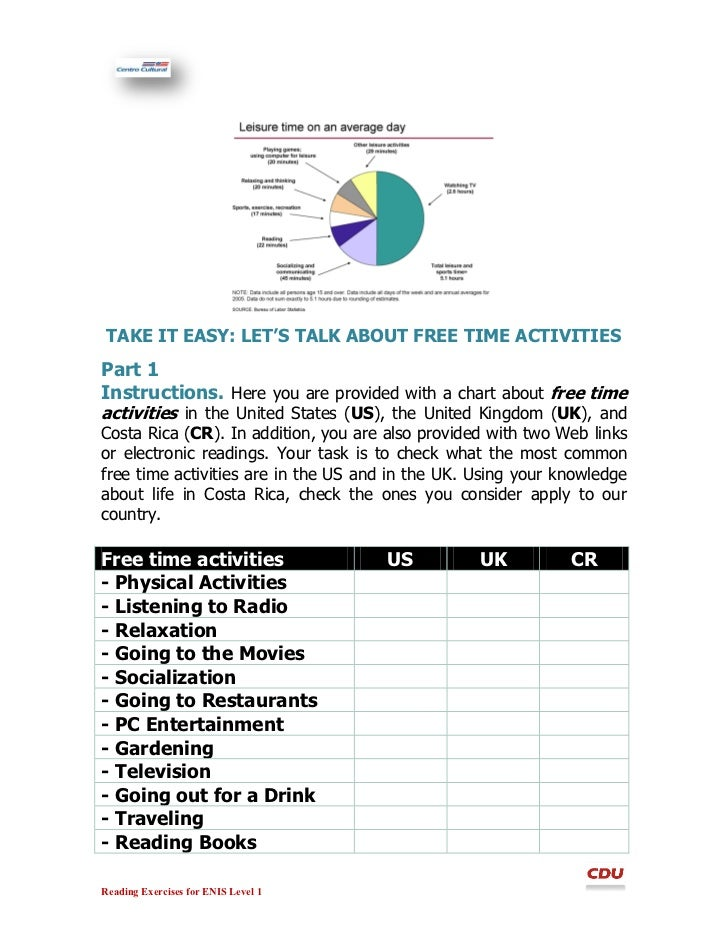 TAKE IT EASY: LETu0027S TALK ABOUT FREE TIME ACTIVITIESPart 1Instructions.