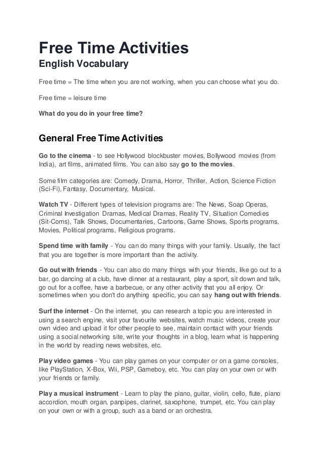 time activities ebook  time activities english vocabulary time the time when you are not working