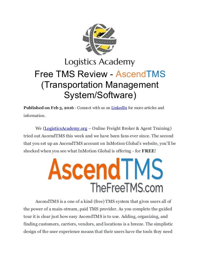 Free tms review ascend tms (transportation management system)