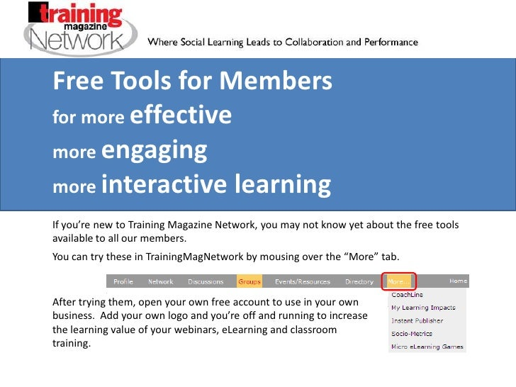 Free Tools for Members<br />for more effective<br />more engaging<br />more interactive learning<br />If you're new to Tra...