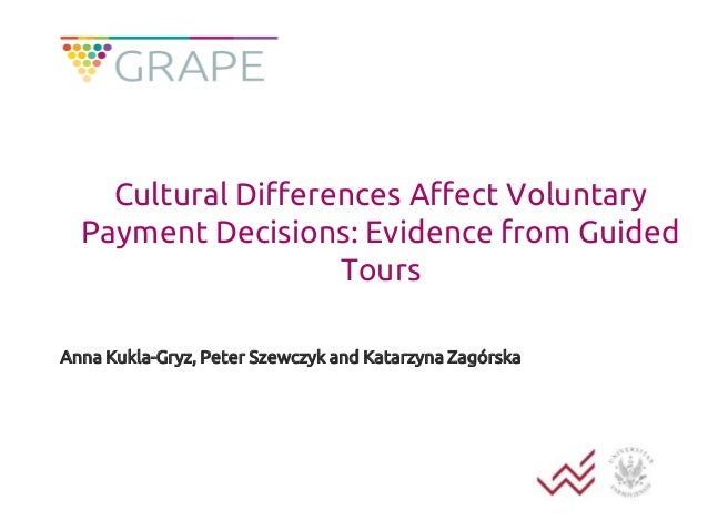 Cultural Differences Affect Voluntary Payment Decisions: Evidence from Guided Tours Anna Kukla-Gryz, Peter Szewczyk and Ka...