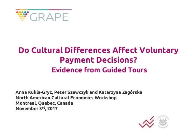 Do Cultural Differences Affect Voluntary Payment Decisions? Evidence from Guided Tours Anna Kukla-Gryz, Peter Szewczyk and...