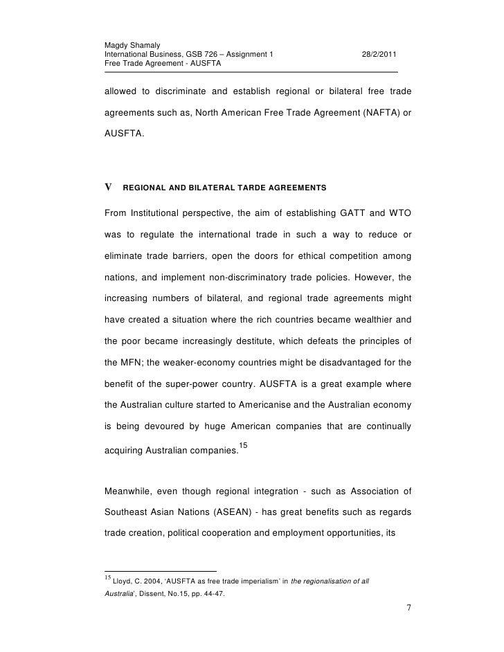 Free Trade Agreement Ausfta Assignment 1