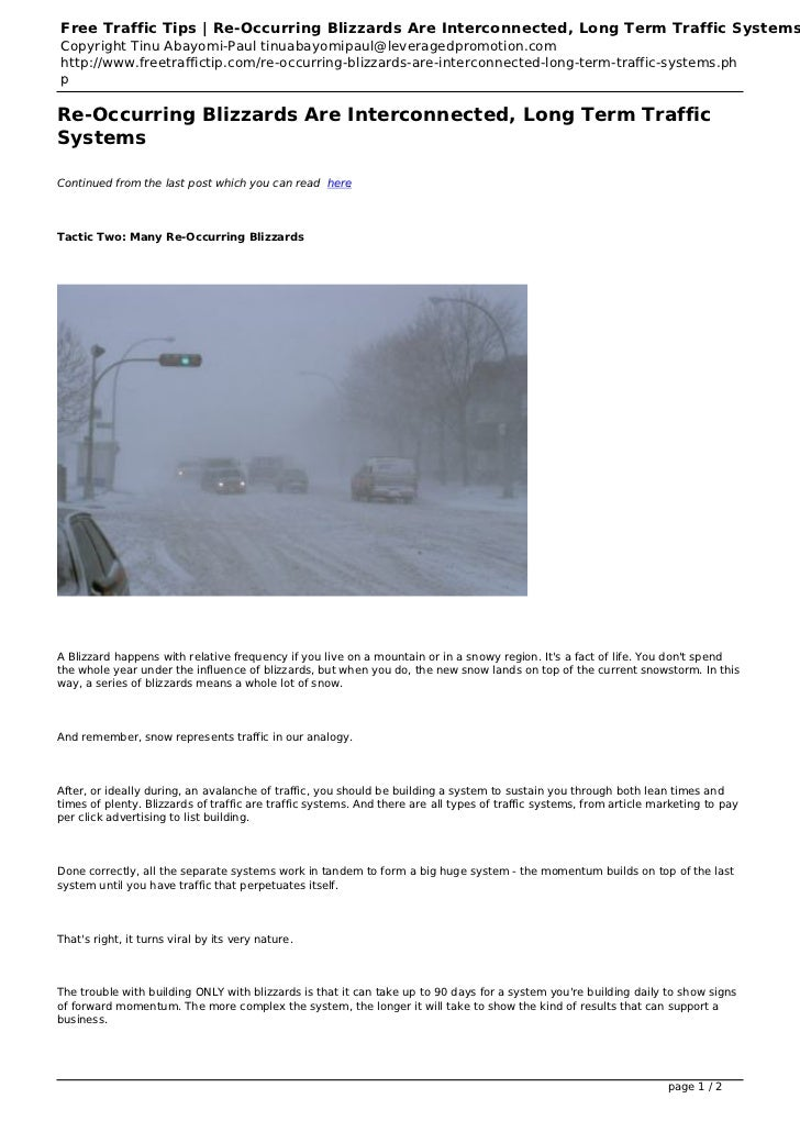 Free Traffic Tips | Re-Occurring Blizzards Are Interconnected, Long Term Traffic SystemsCopyright Tinu Abayomi-Paul tinuab...