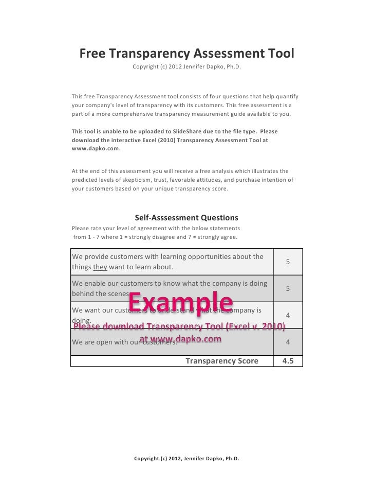 Free Transparency Self Assessment Tool Example