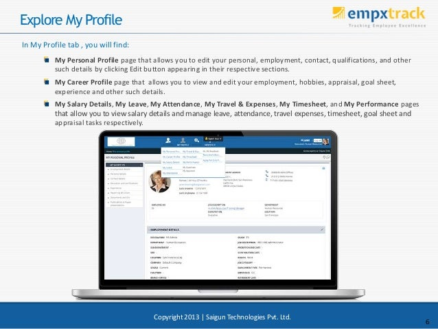 Explore My Profile My Personal Profile page that allows you to edit your personal, employment, contact, qualifications, an...