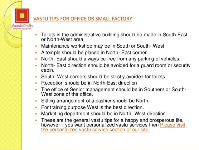 Vastu Shastra Tips For Office Or Small Factory
