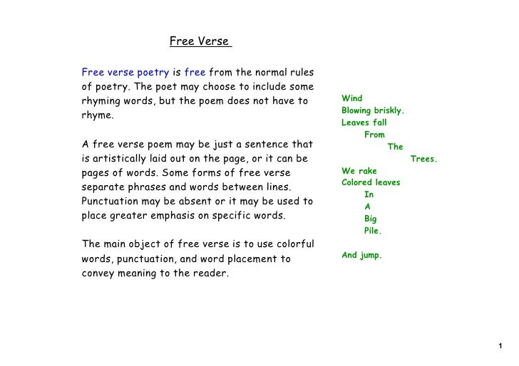 Free VerseFree verse poetry is free from the normal rulesof poetry. The poet may choose to include somerhyming words, but ...
