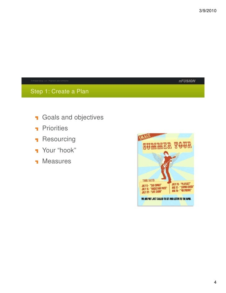 """Step 1: Create a Plan        Goals and objectives     Priorities     Resourcing     Your """"hook""""     Measures"""