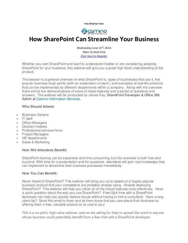 Free Webinar from How SharePoint Can Streamline Your Business Wednesday June 11th , 2014 10am Central time Click Here to R...